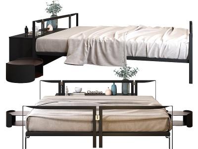 新中式雙人床模型3d模型
