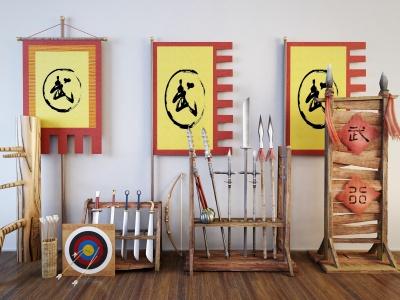 C4D冷兵器木人樁武術館裝飾