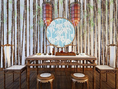 C4D新中式茶桌椅鳥籠吊燈組合模型
