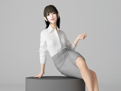 C4D現代風格性感美女人物模型模型