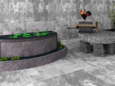 老物件石磨水槽豬槽水缸模型3d模型