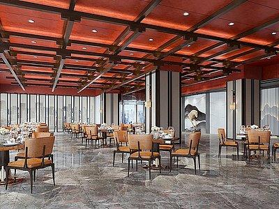 C4D3d新中式餐廳大堂模型模型