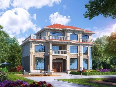 簡歐別墅外觀3d模型