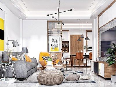 現代清新小戶型家裝客廳模型3d模型