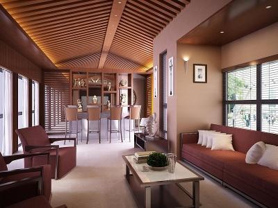 中式會客廳模型