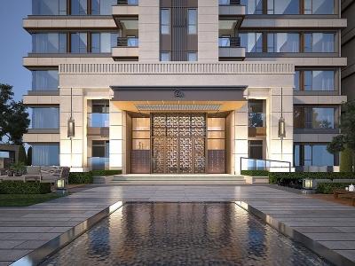現代建筑住宅模型3d模型