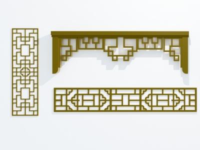 中式雕花3d模型