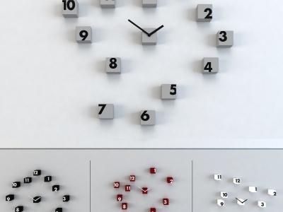 現代方塊時鐘掛鐘墻飾組合模型3d模型