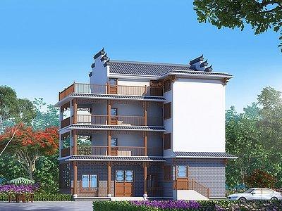 中式別墅外觀3d模型