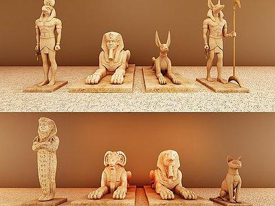 古埃及獅身人面雕塑擺件模型3d模型