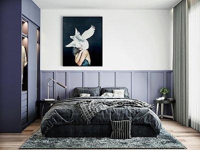 現代簡約家裝臥室模型3d模型