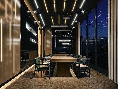 現代會議室夜景模型3d模型