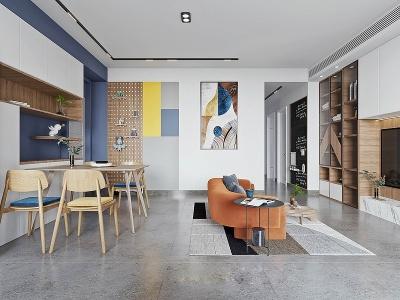 現代風格客廳餐廳模型3d模型