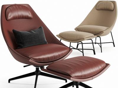 現代皮革休閑椅沙發椅腳踏模型3d模型