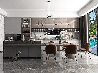 現代開放廚房餐廳模型3d模型