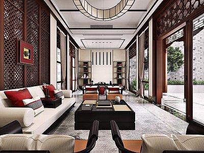新中式復式客廳模型3d模型