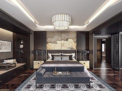 中式風格臥室模型3d模型