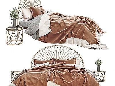 現代雙人床床頭柜組合模型3d模型