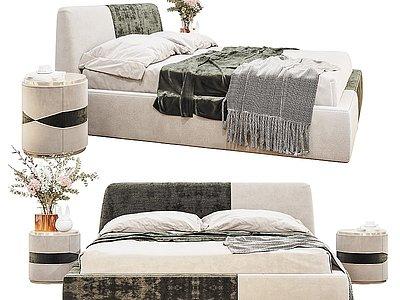 現代雙人床床頭柜模型3d模型