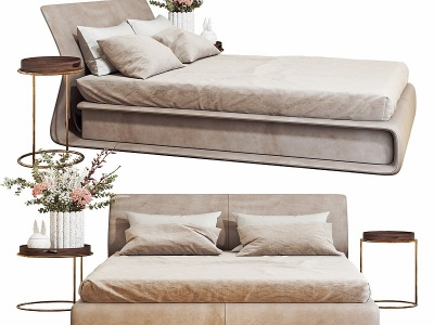 現代臥室雙人床模型3d模型