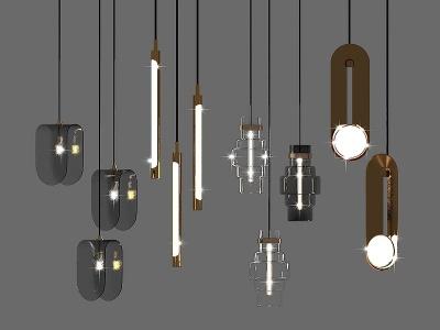 現代金屬吊燈模型3d模型