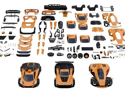 跑車機械零件組件五金零件模型3d模型