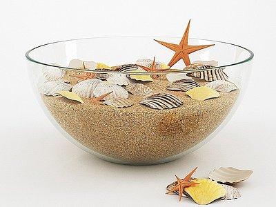 沙子扇貝玻璃器皿裝飾品模型3d模型
