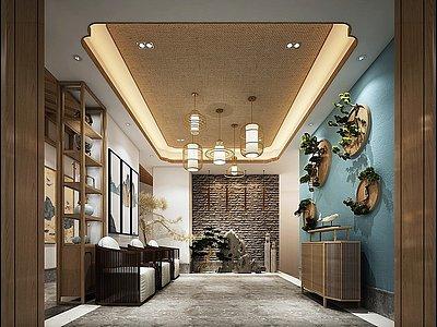 新中式大廳模型3d模型
