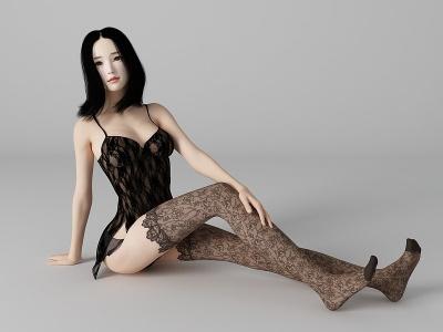 現代風格性感美女人物模型3d模型