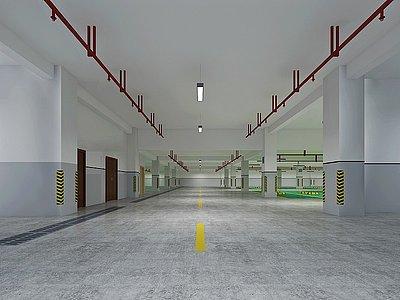 現代地下車庫3d模型