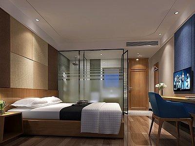 現代酒店標間單人間模型3d模型