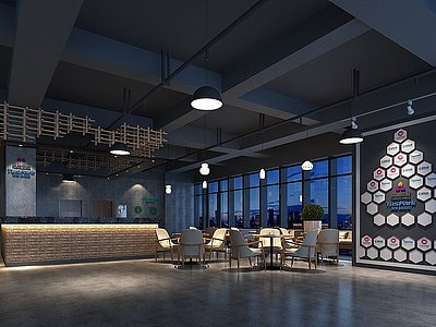 工業風辦公大廳休息區模型3d模型