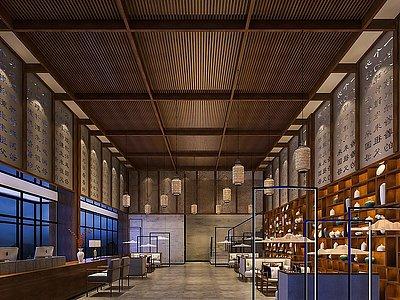 新中式餐飲會所大廳模型3d模型