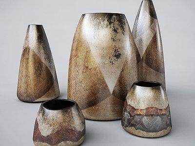 新中式陶罐壇子花瓶裝飾模型3d模型