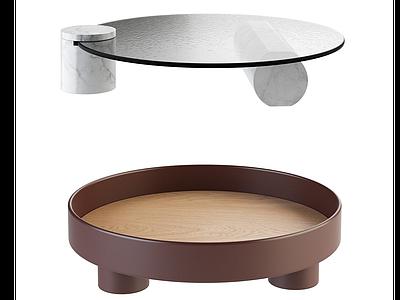 現代圓形茶幾玻璃茶幾模型3d模型