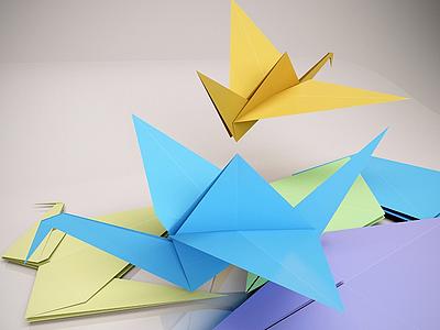 現代折紙千紙鶴模型3d模型