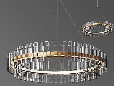 現代圓形金色水晶吊燈模型3d模型