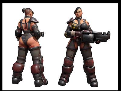 現代游戲角色女戰士模型3d模型