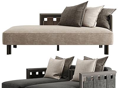 新中式貴妃榻單人沙發模型3d模型