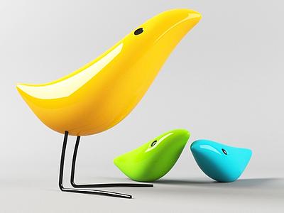 現代小鳥裝飾品模型3d模型