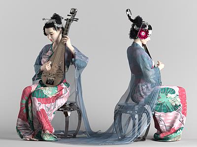 古典美女琵琶女模型3d模型