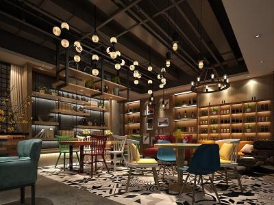 工業風的餐廳模型3d模型