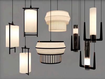 新中式吊燈組合模型3d模型