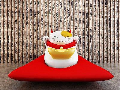 日式招財貓裝飾擺件模型3d模型