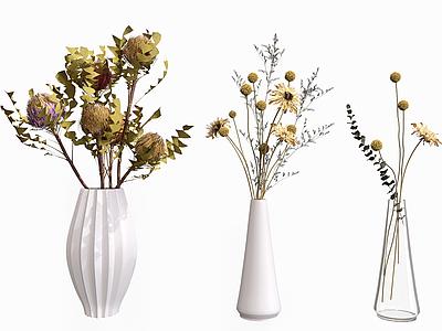 花束陶瓷花瓶擺件模型3d模型