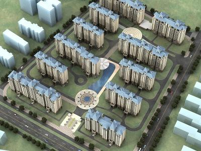 歐式住宅樓鳥瞰模型3d模型