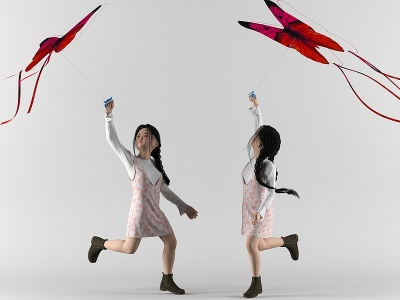 小女孩放風箏3d模型