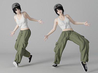 現代風格街舞美女人物模型3d模型