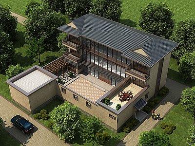 中式別墅四合院模型3d模型