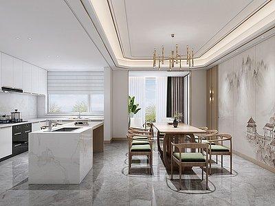 開放式廚房餐廳模型3d模型